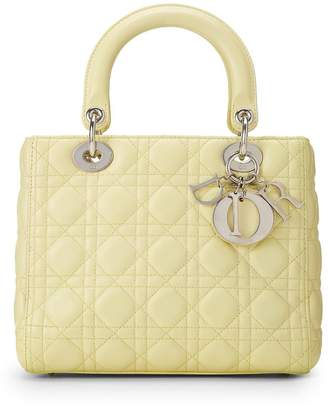 Christian Dior Pale Yellow Cannage Quilted Lambskin Lady Medium