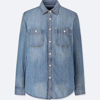 Uniqlo Men's Denim Work Slim-fit Long-sleeve Shirt