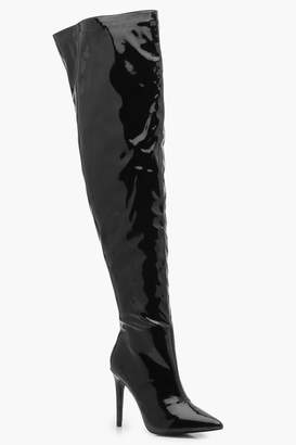 boohoo Hi Shine Thigh High Boots