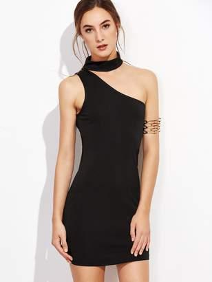 Shein One Shoulder Choker Bodycon Dress
