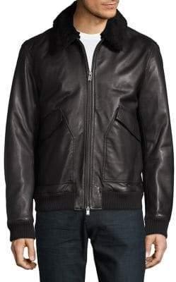 HUGO BOSS Sherpa-Trimmed Leather Jacket