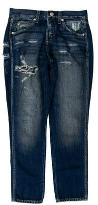 Amo Mid-Rise Distressed Straight-Leg Jeans
