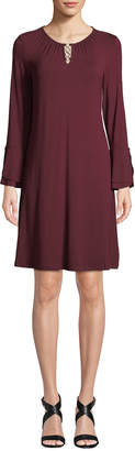 Neiman Marcus Scoop-Neck Double Tulip-Sleeve A-Line Dress w/ Silvertone Ring Detail