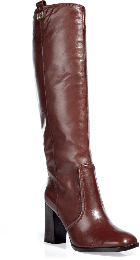 Diane von Furstenberg Chocolate Mid Heel Knee Boots with Rubber Sole