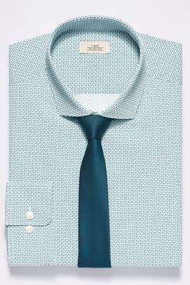 Mens White/Teal Slim Fit Single Cuff Print Shirt With Tie