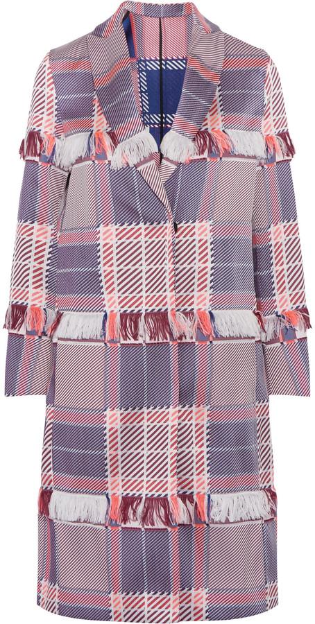 MSGM Fringed jacquard coat