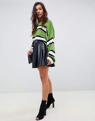 Asos Design DESIGN full skater leather look mini skirt with self belt