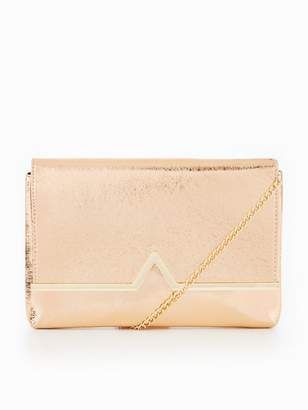 Very V Bar Metallic Clutch Bag - Gold