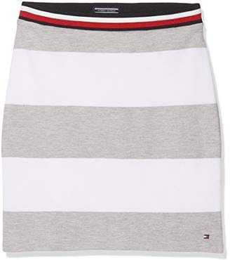 Tommy Hilfiger Girl's Bright Stripe Knit Skirt Skirt, Grey (Light HTR 061)