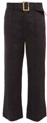 Lisa Marie Fernandez Belted High Rise Cropped Linen Trousers - Womens - Black