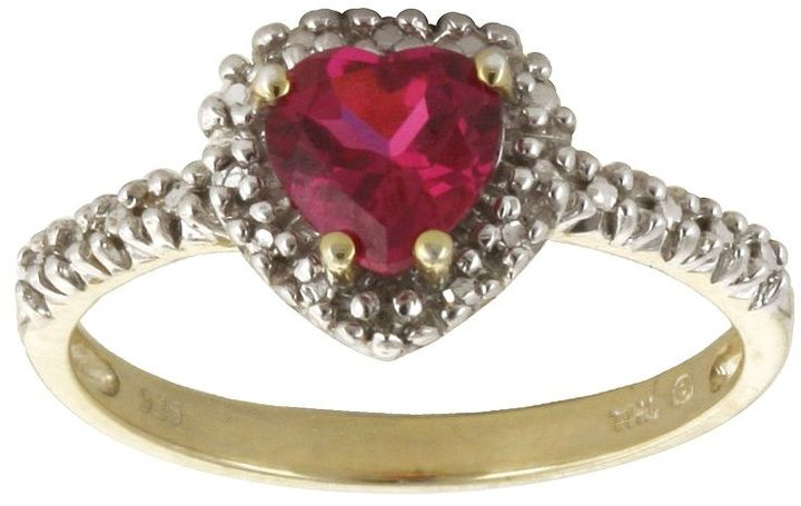 10k Gold Lab-Created Ruby & Diamond Accent Heart Ring