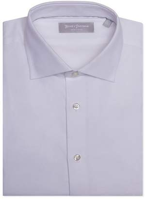 Hickey Freeman Silver Label Textured White Contemporary Fit Dress Shirt