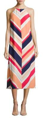 Laundry by Shelli Segal Halterneck Sleeveless Striped Dress
