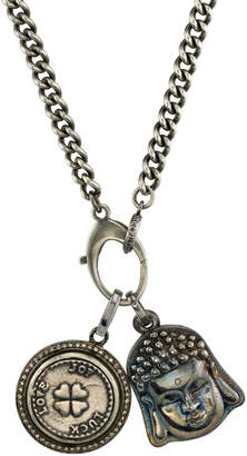 Men's Buddha & Clover Pendant Necklace