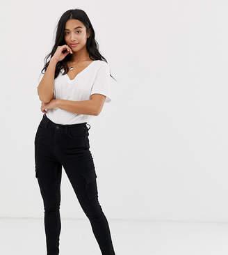 New Look Petite cargo skinny trousers in black