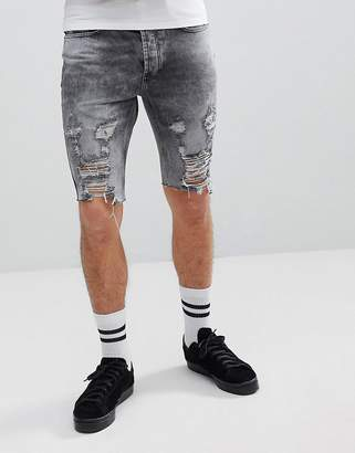 Religion Slim Fit Denim Shorts In Gray With Rips