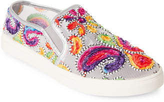 Wanted Silver Renoir Embroidered Mesh Slip On Sneakers