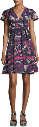 Marc Jacobs Floral-Print Cap-Sleeve Wrap Dress