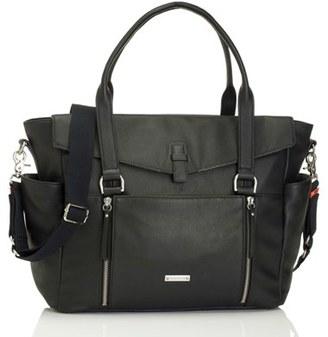 Infant Storksak 'Emma' Leather Diaper Bag - Black $355 thestylecure.com