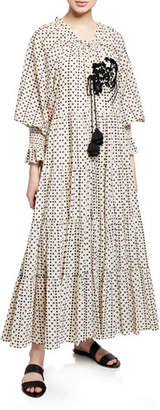 Figue Bella Long-Sleeve Dot Print Tiered Dress