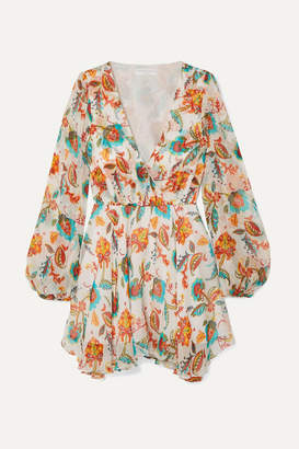 Caroline Constas Olena Floral-print Silk-chiffon Mini Dress