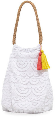 PilyQ Allison Crocheted Lace Beach Tote Bag, White $144 thestylecure.com
