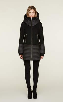 Soia & Kyo AVERY mixed media mid length coat with hood