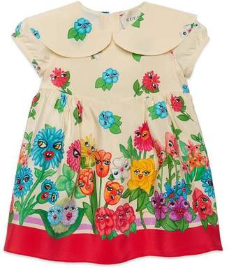 Gucci Baby silk dress with smiling flowers print