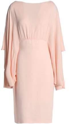Draped Ruffled Crepe Dress