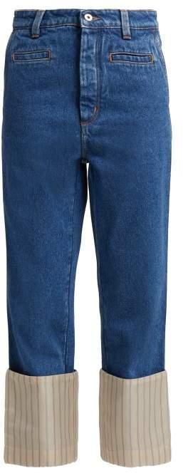 Fisherman Striped Turn Up Denim Jeans - Womens - Blue Multi