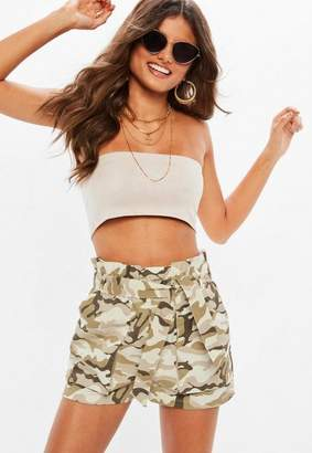 Missguided Tall Khaki Tie Waist Shorts
