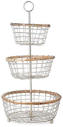One Kings Lane Hurn 3-Tier Basket - Silver/Natural