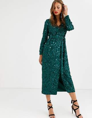 Asos Edition EDITION wrap midi dress in disc sequin