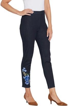 Susan Graver Petite High Stretch Indigo Denim Slim-Leg Jeans