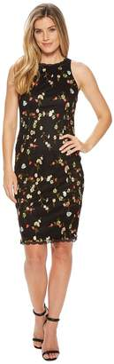 Adrianna Papell Diana Floral Embroidery Sheath Women's Dress
