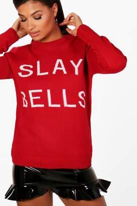 boohoo Christmas Slay Bells Slogan Jumper