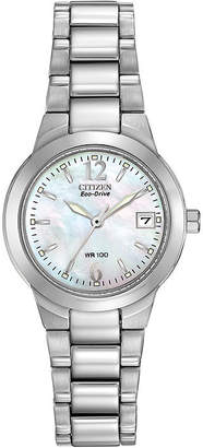 Citizen Eco-Drive Womens Silver-Tone Mother-of-Pearl Watch EW1670-59D