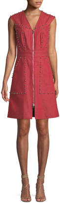 Diane von Furstenberg Zip-Front Studded Sheath Dress