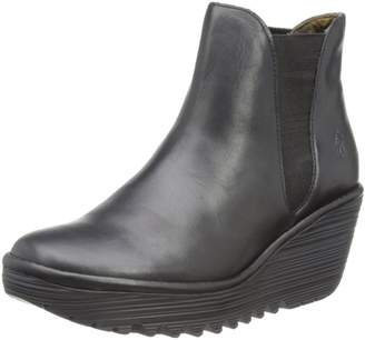 Fly London Womens Yoss Elasticated Leather Chelsea Boot Wedge Heel Shoes - 9