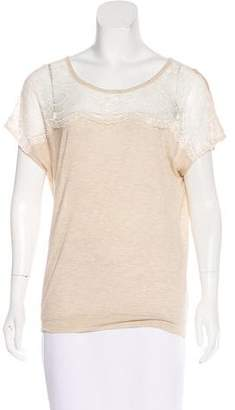 Ella Moss Lace-Paneled Cap Sleeve Top