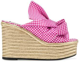 No.21 gingham knotted bow wedges