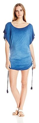 Lucky Brand Women's Vacation Vibe Hand-Dyed Cover-Up with Shirred Sides and Tassels $84 thestylecure.com