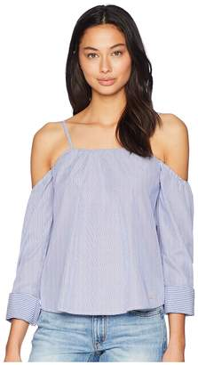 Bebe Long Sleeve Sweetheart Neck Shirting Women's Clothing