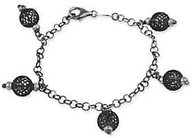 QVC Sterling Fancy Textured Ball Dangle Bracelet