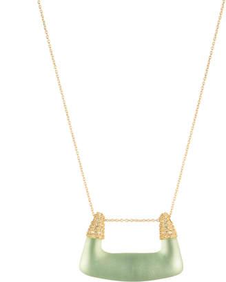 Alexis Bittar Crystal Encrusted Buckle Shape Pendant Necklace