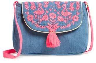 Mini Boden Embroidered Denim Shoulder Bag