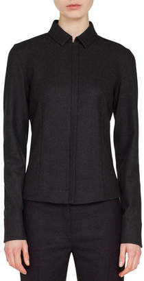 Akris Zip-Front Shirt-Collar Long-Sleeve Wool Flannel Blouse