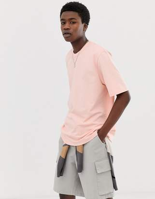 Asos loose fit heavyweight t-shirt in pink
