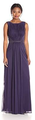 JS Boutique Women's Draped Matte Jersey Chiffon Gown W/Waist and Side Beading and Deep V Back