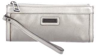 Burberry Metallic Leather-Trimmed Wristlet Silver Metallic Leather-Trimmed Wristlet